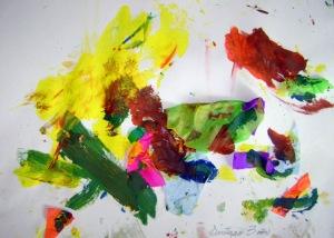 Práctica libre. Collage con papel y vinilos de colores. Santiago, 3 años.